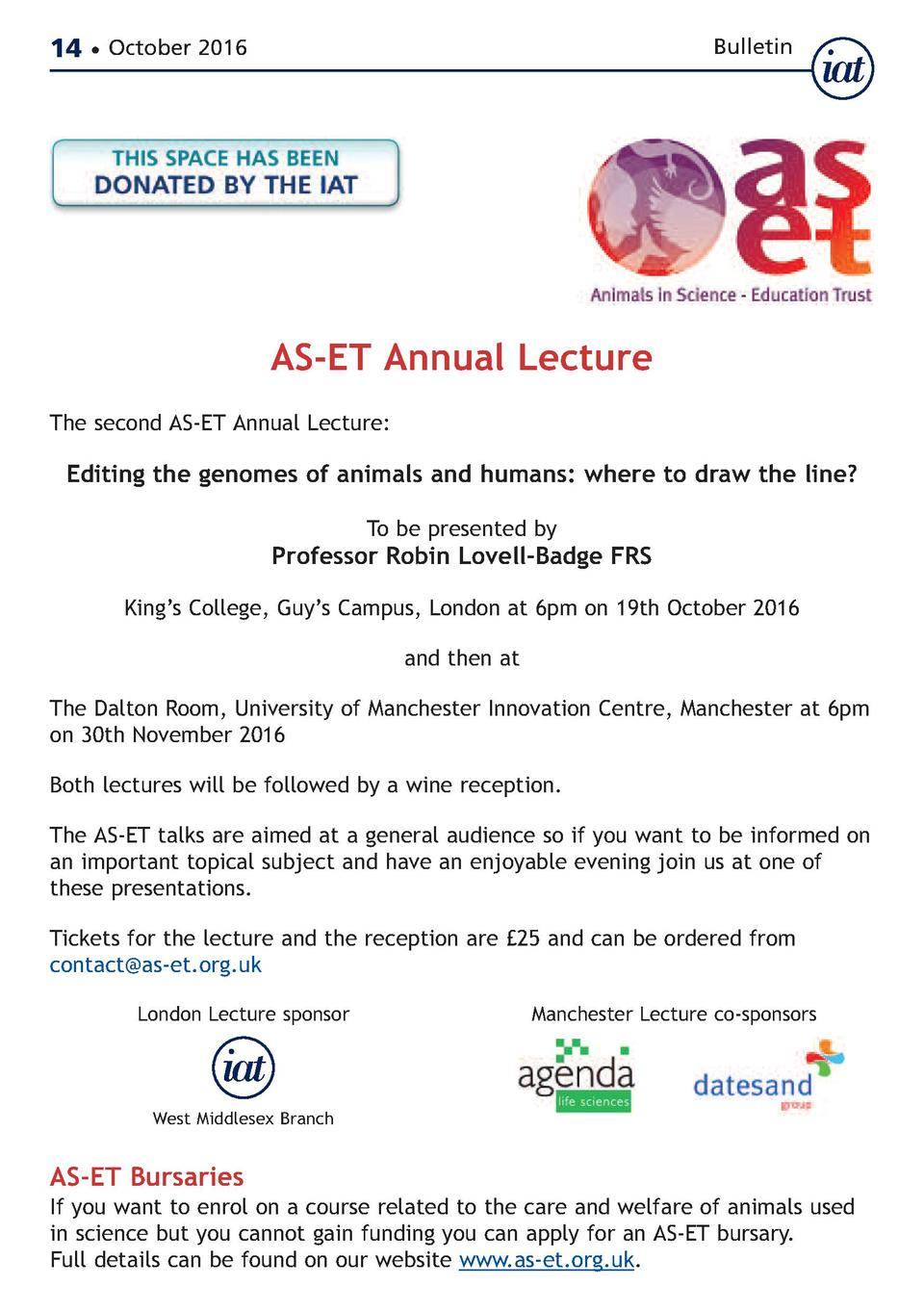 14     October 2016  Bulletin  AS-ET Annual Lecture  The second AS-ET Annual Lecture   Editing the genomes of animals and ...