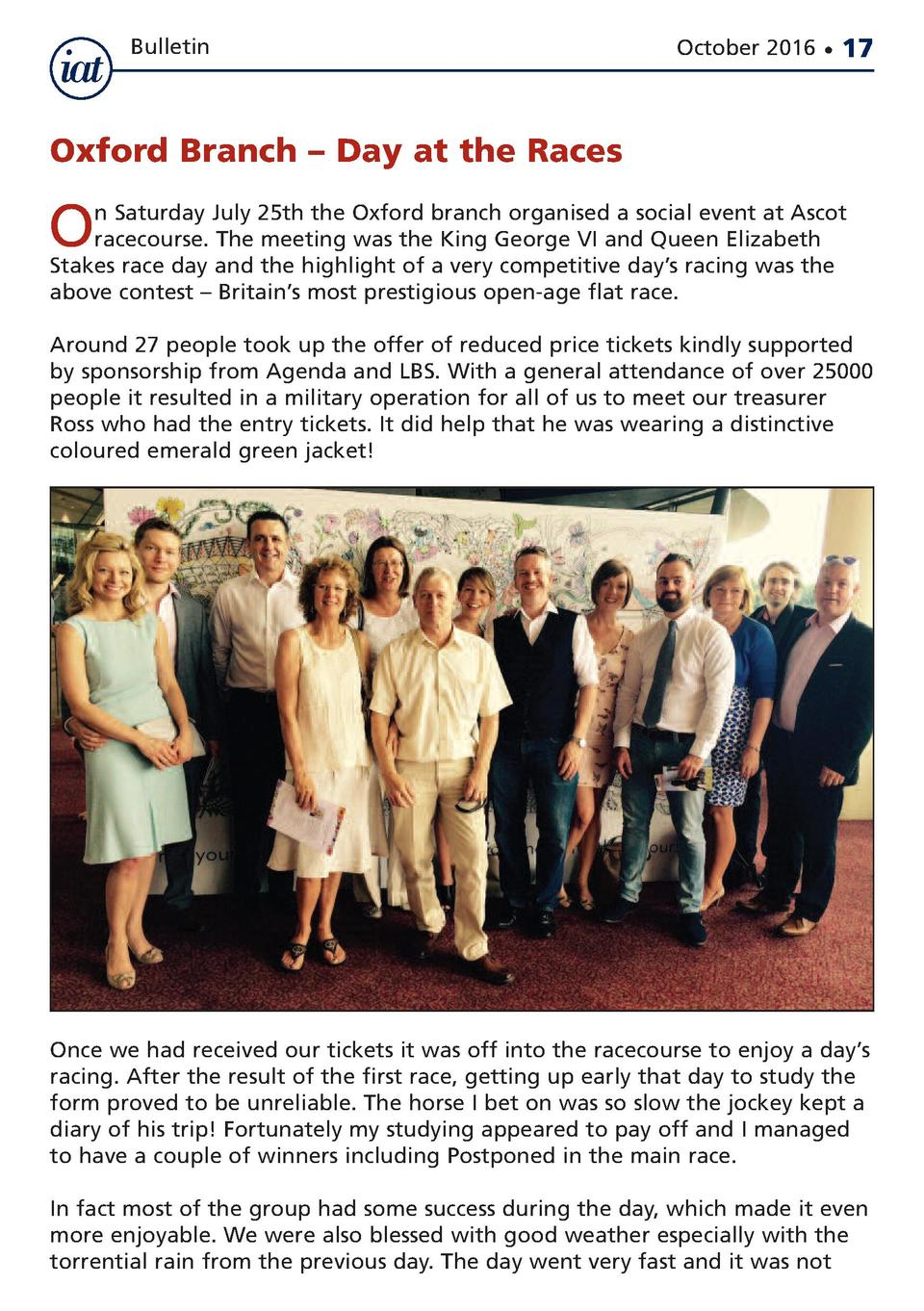 Bulletin  October 2016      17  Oxford Branch     Day at the Races  O  n Saturday July 25th the Oxford branch organised a ...