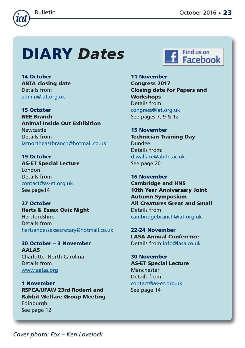 Bulletin  October 2016      DIARY Dates 14 October ABTA closing date Details from admin iat.org.uk 15 October NEE Branch A...