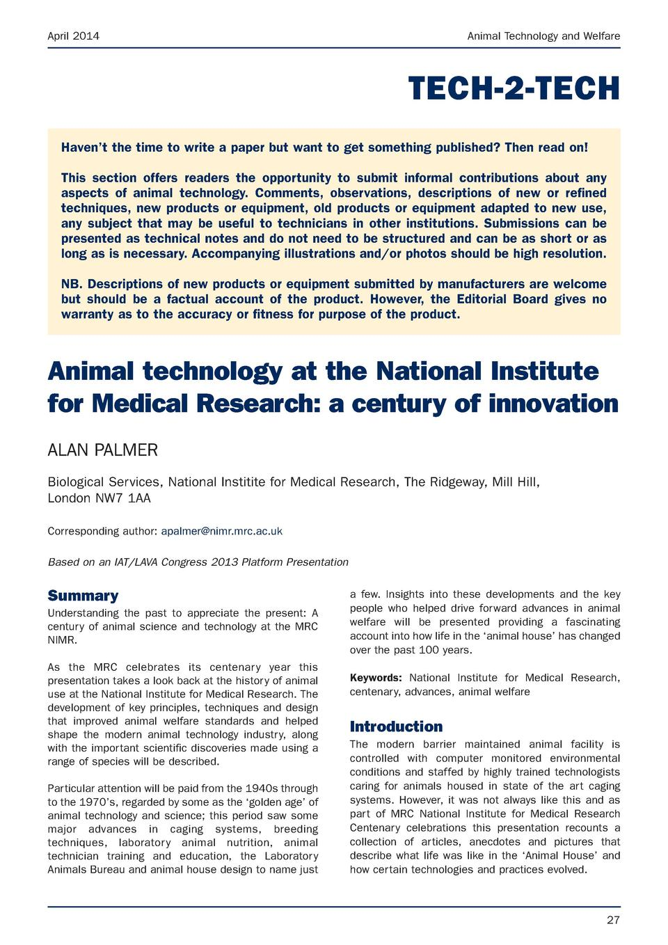 April 2014  Animal Technology and Welfare  TECH-2-TECH Haven   t the time to write a paper but want to get something publi...