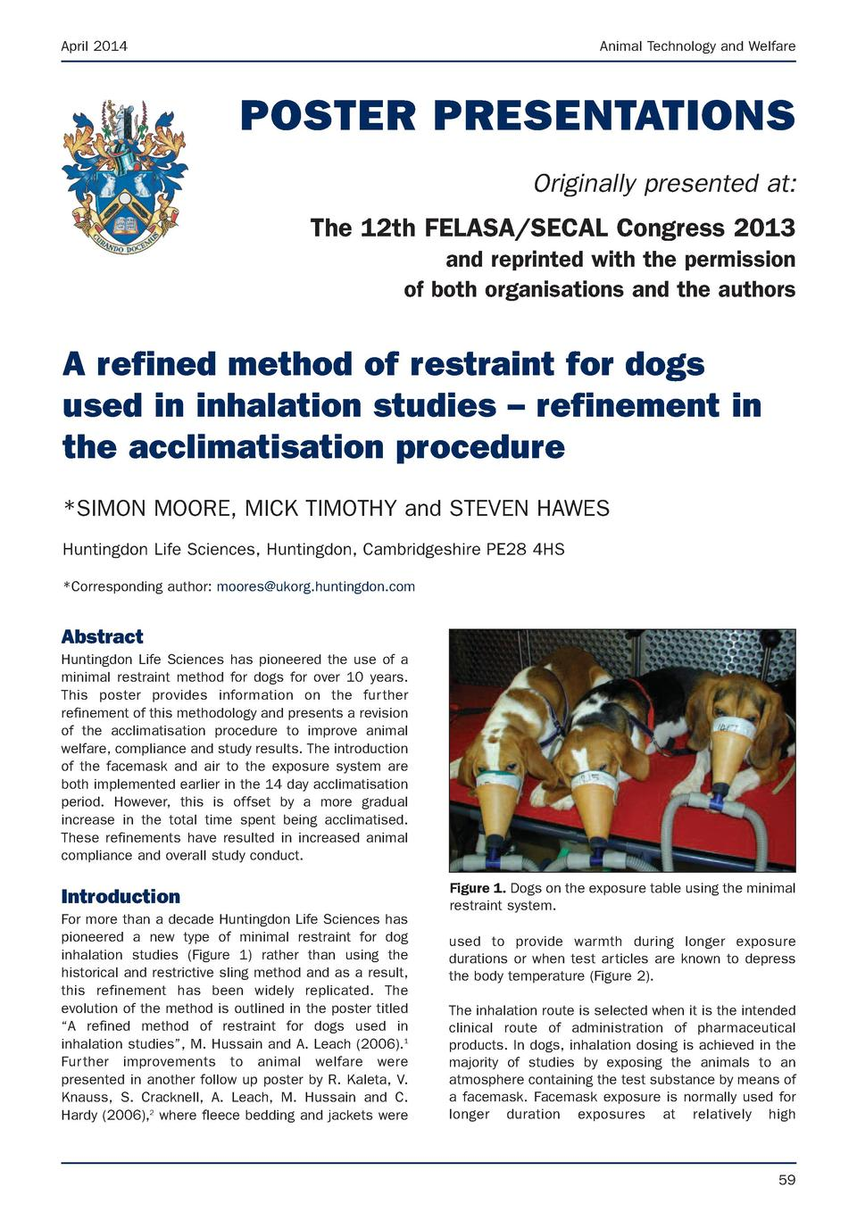 April 2014  Animal Technology and Welfare  POSTER PRESENTATIONS Originally presented at  The 12th FELASA SECAL Congress 20...