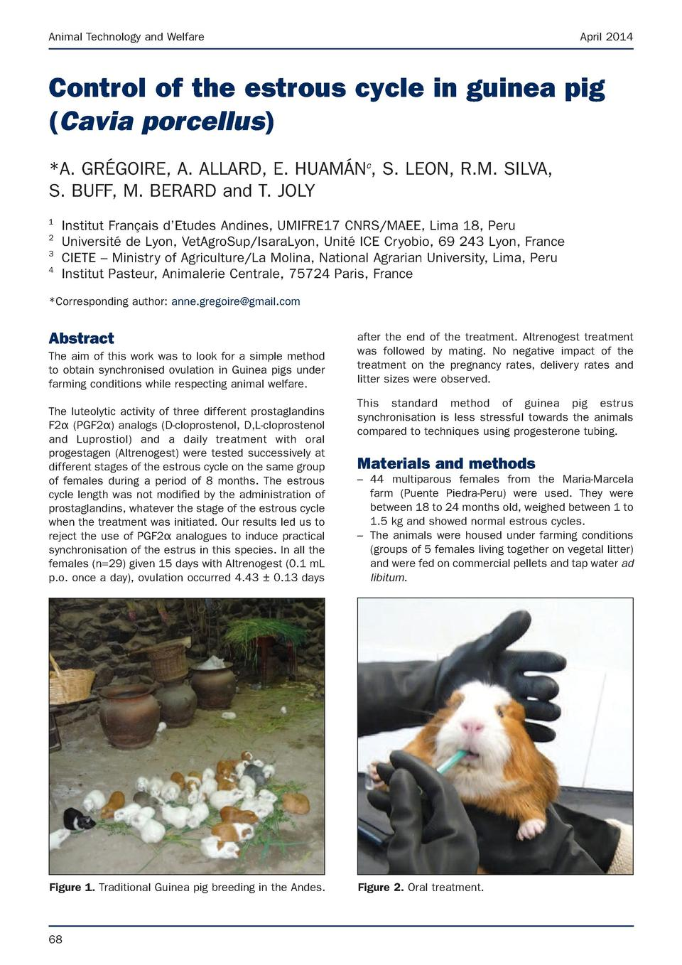 Animal Technology and Welfare  April 2014  Control of the estrous cycle in guinea pig  Cavia porcellus   A. GR  GOIRE, A. ...