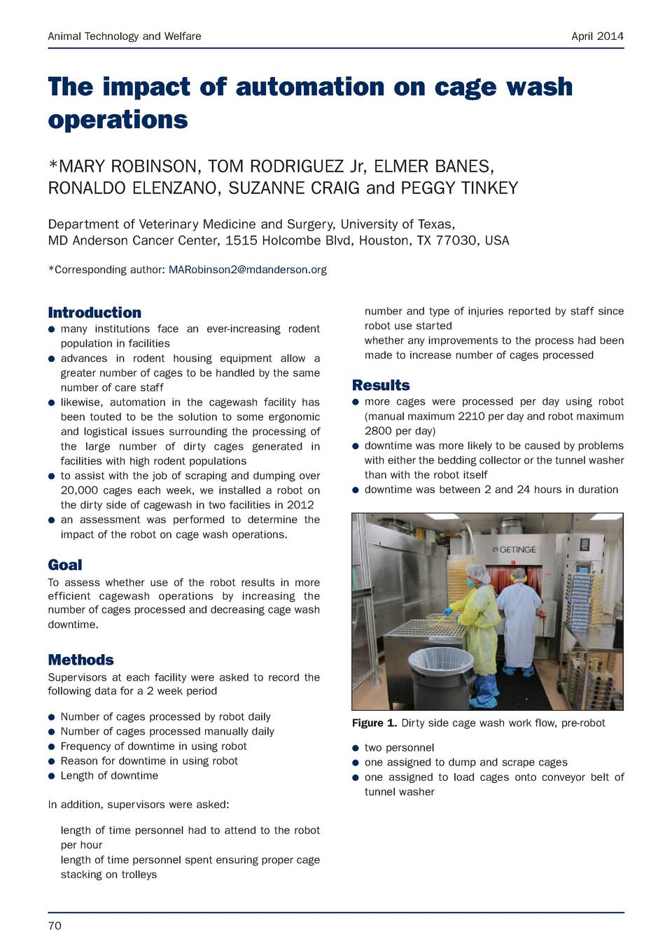 Animal Technology and Welfare  April 2014  The impact of automation on cage wash operations  MARY ROBINSON, TOM RODRIGUEZ ...