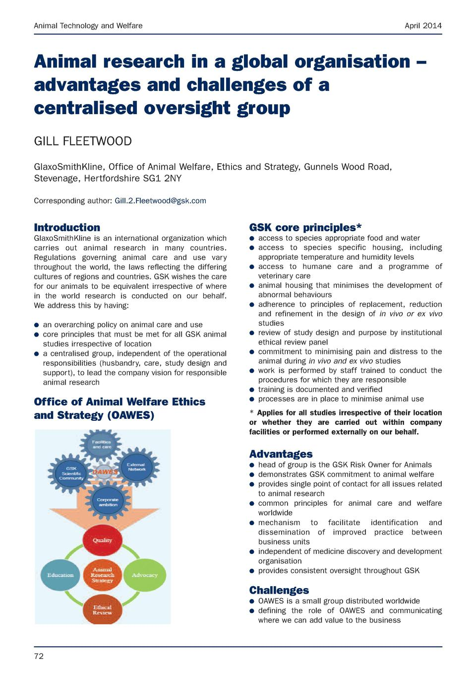 Animal Technology and Welfare  April 2014  Animal research in a global organisation     advantages and challenges of a cen...