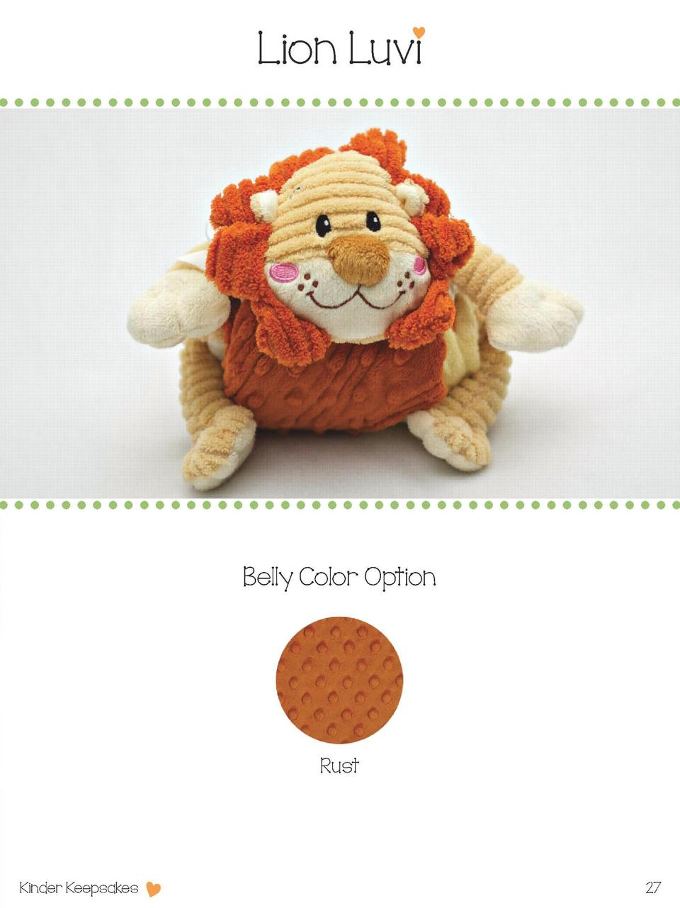 Lion Luvi  Belly Color Option  Rust  Kinder Keepsakes  27