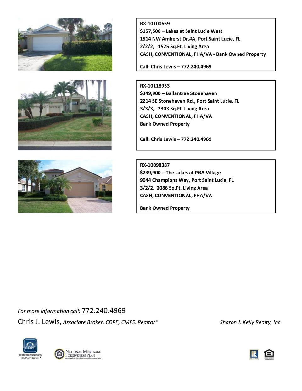 RX-10100659  157,500     Lakes at Saint Lucie West 1514 NW Amherst Dr. A, Port Saint Lucie, FL 2 2 2, 1525 Sq.Ft. Living A...