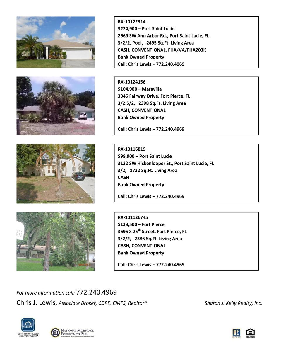 RX-10122314  224,900     Port Saint Lucie 2669 SW Ann Arbor Rd., Port Saint Lucie, FL 3 2 2, Pool, 2495 Sq.Ft. Living Area...