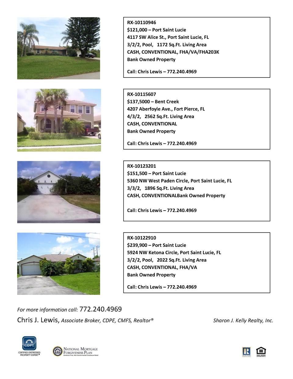 RX-10110946  121,000     Port Saint Lucie 4117 SW Alice St., Port Saint Lucie, FL 3 2 2, Pool, 1172 Sq.Ft. Living Area CAS...