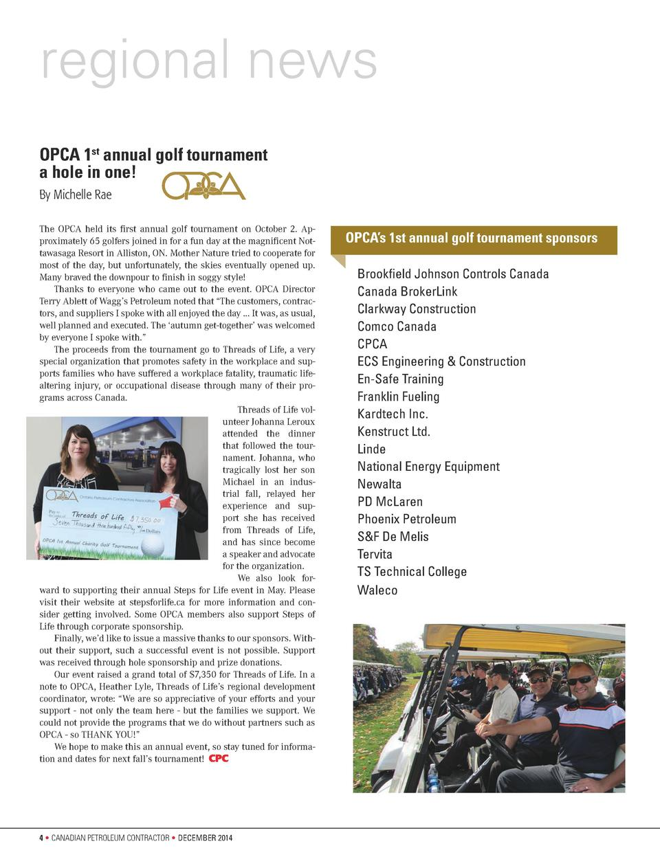 regional news OPCA 1st annual golf tournament a hole in one  By Michelle Rae The OPCA held its first annual golf tournamen...
