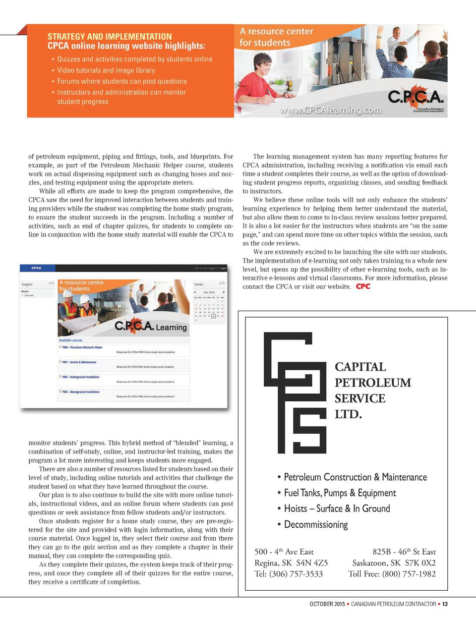 STRATEGY AND IMPLEMENTATION  CPCA online learning website highlights        Quizzes and activities completed by students o...