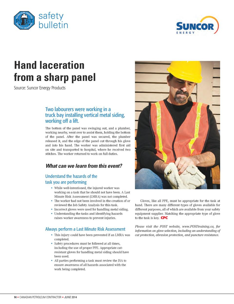 safety bulletin  Hand laceration from a sharp panel Source  Suncor Energy Products  Two labourers were working in a truck ...