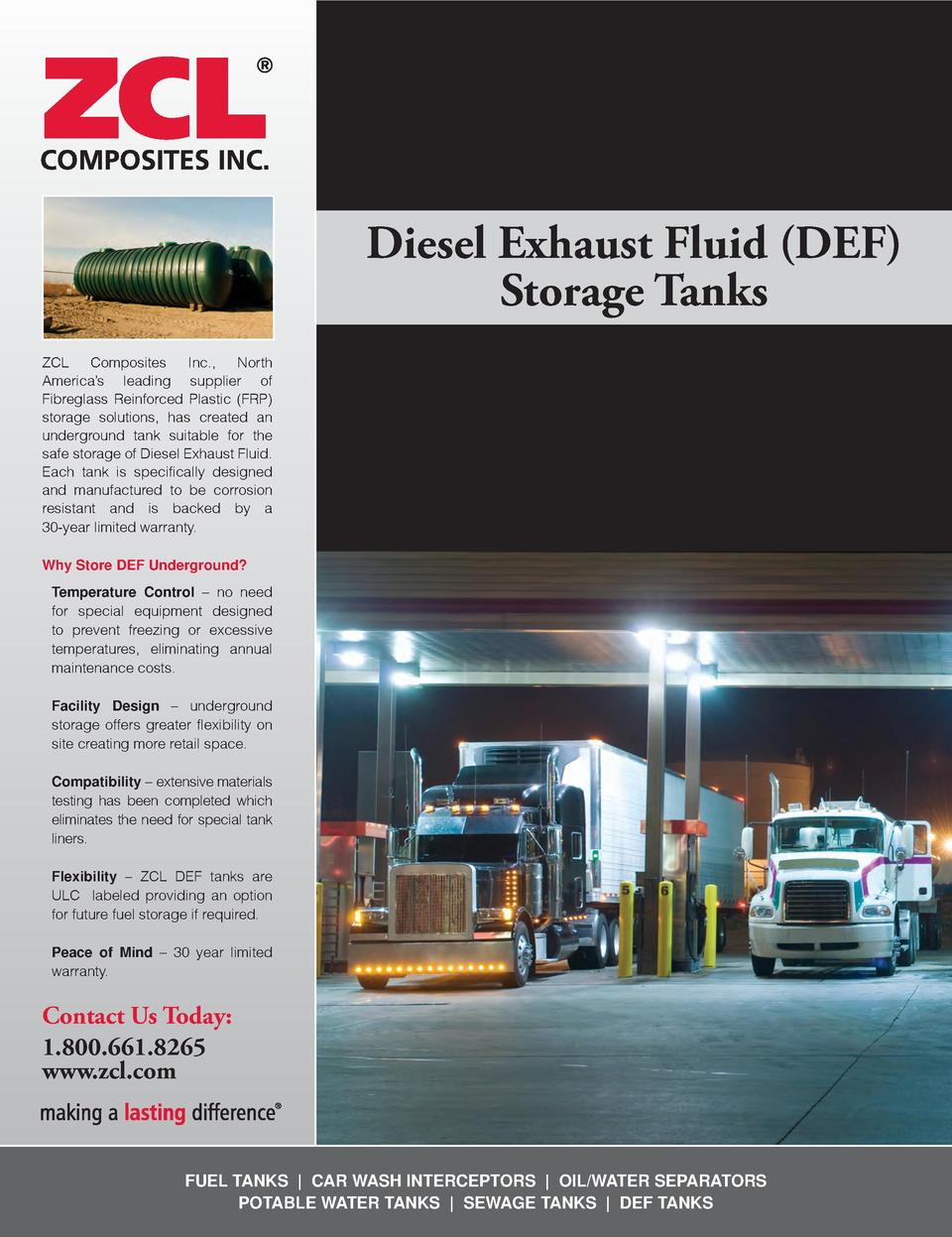 Diesel Exhaust Fluid  DEF  Storage Tanks ZCL Composites Inc., North America   s leading supplier of Fibreglass Reinforced ...