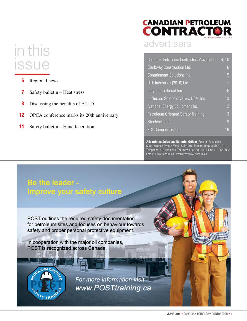 CPCA  CPCA  CANADIAN PETROLEUM  CONTRACTOR  in this issue    5  Regional news   7  Safety bulletin     Heat stress   8   D...