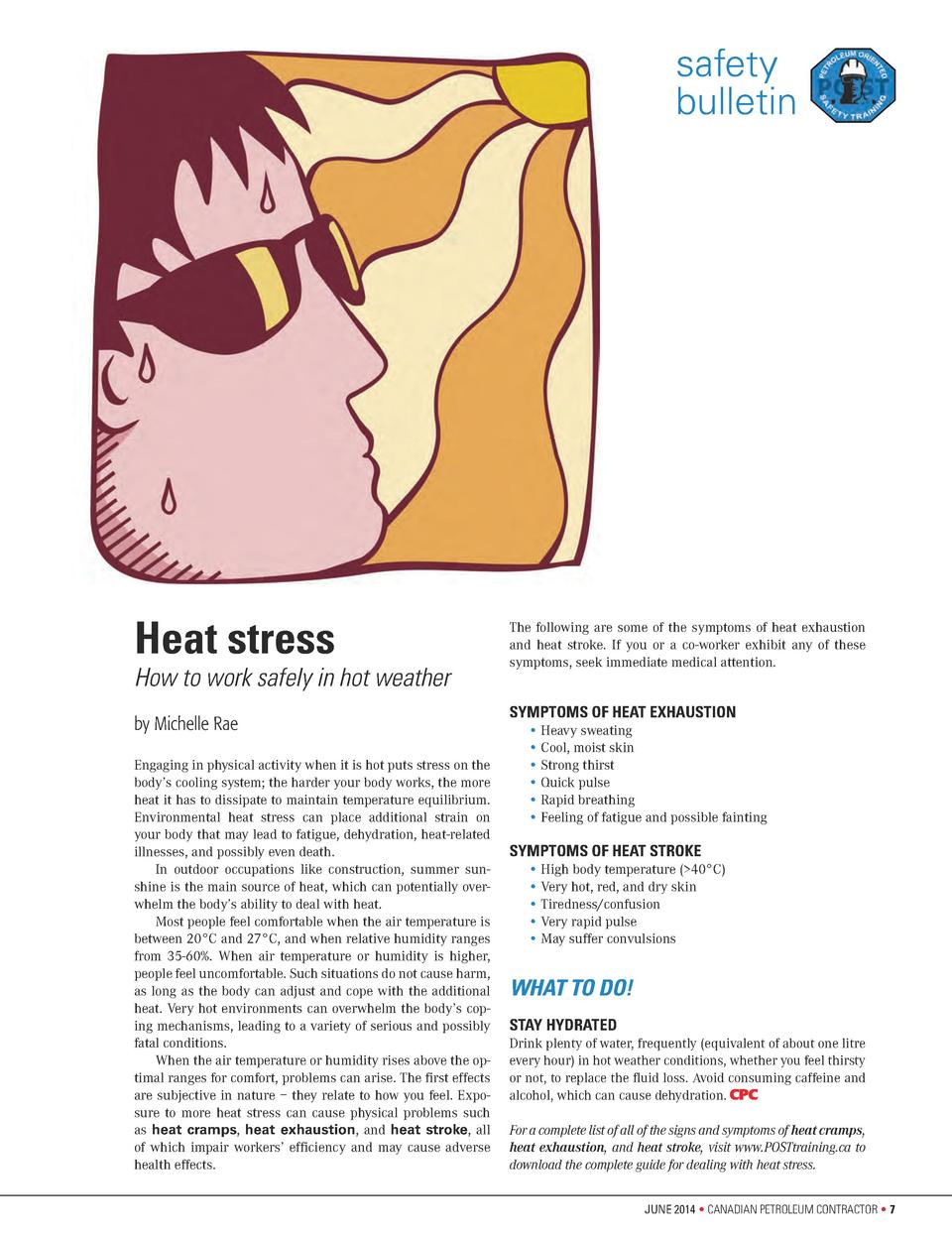 safety bulletin  Heat stress  How to work safely in hot weather by Michelle Rae Engaging in physical activity when it is h...