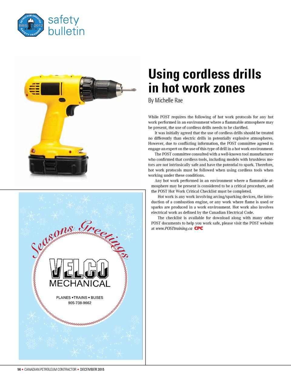 safety bulletin  Using cordless drills in hot work zones By Michelle Rae  s  Se  o n s G r e eti s  ng  a  While POST requ...