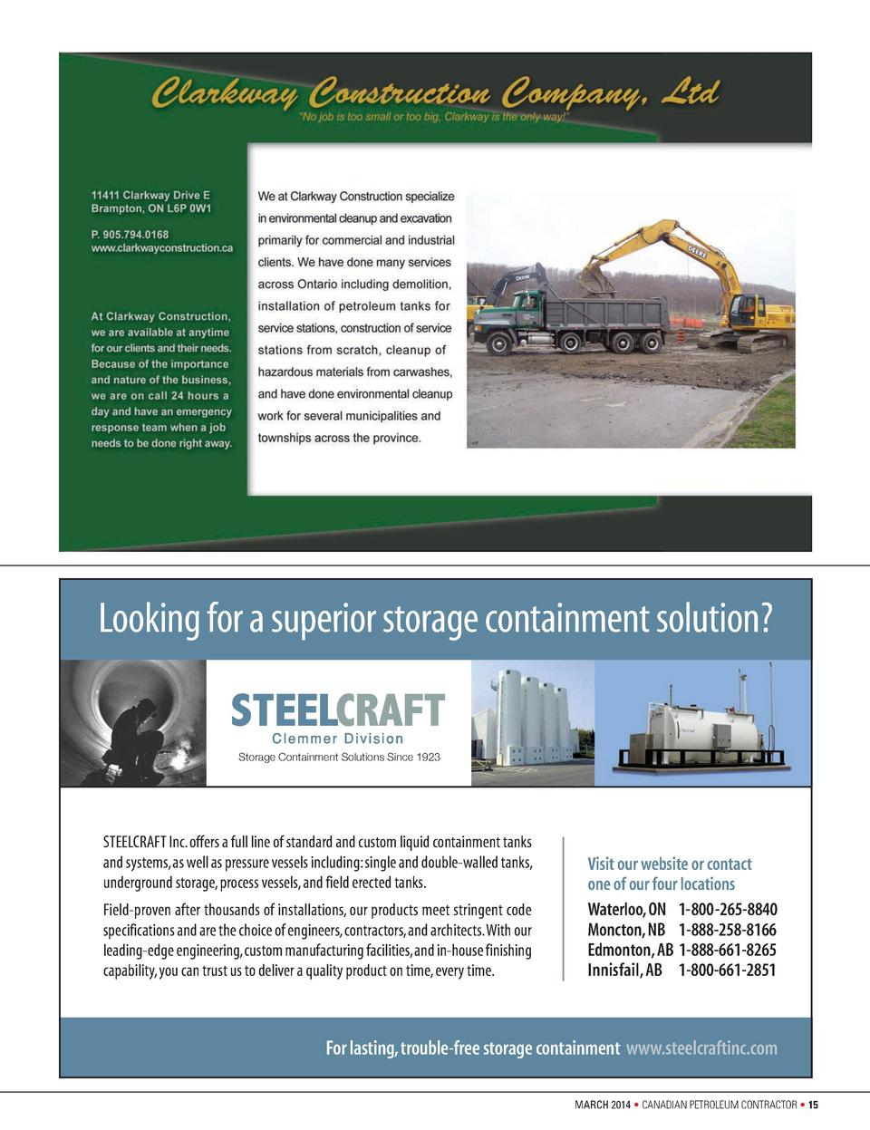 SteelcraftAd_0212 Layout 1  2 22 12  12 13 PM  Page 1  Looking for a superior storage containment solution  Storage Contai...