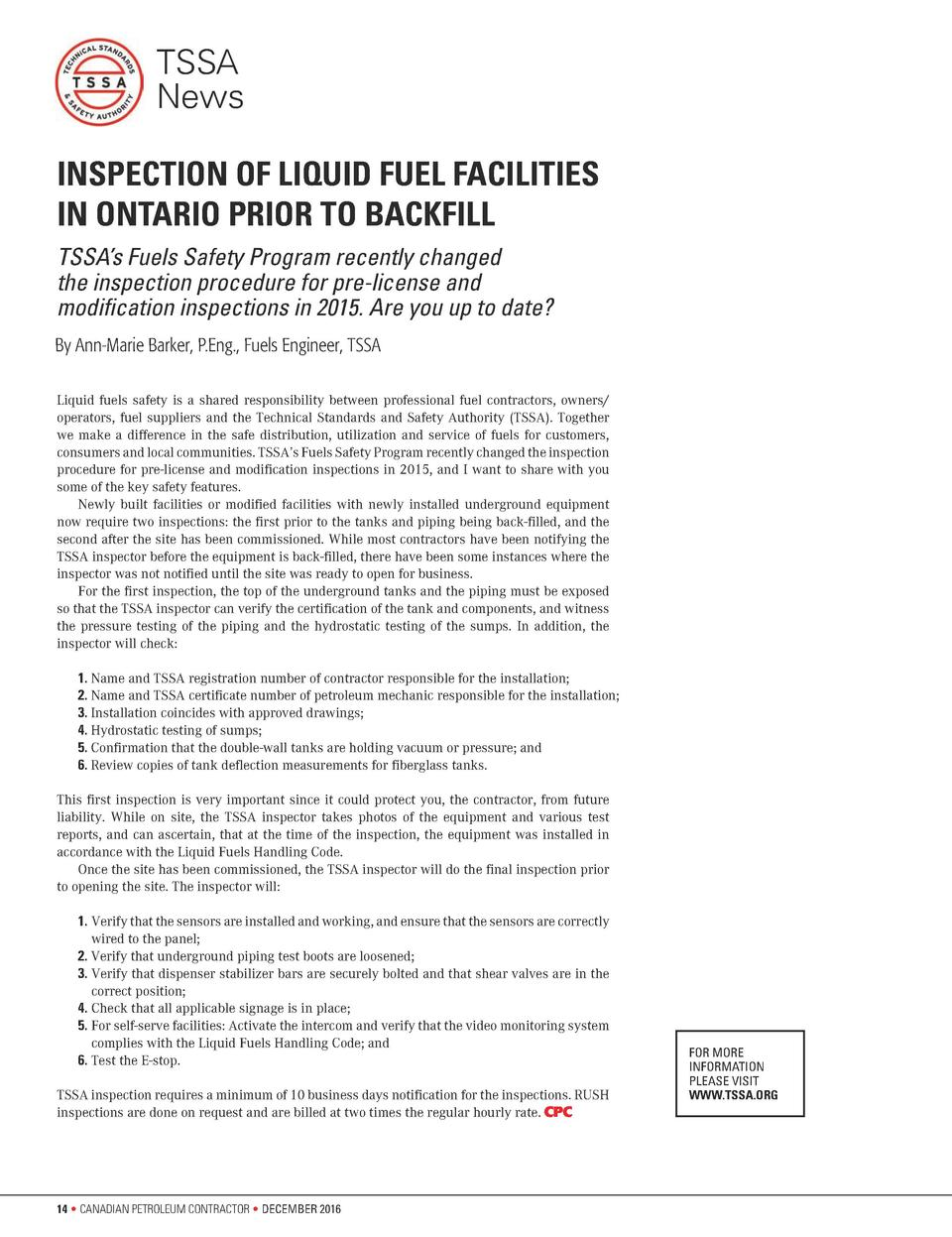 TSSA News INSPECTION OF LIQUID FUEL FACILITIES IN ONTARIO PRIOR TO BACKFILL TSSA   s Fuels Safety Program recently changed...