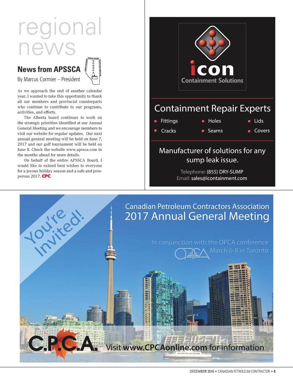 regional news News from APSSCA By Marcus Cormier     President As we approach the end of another calendar year, I wanted t...