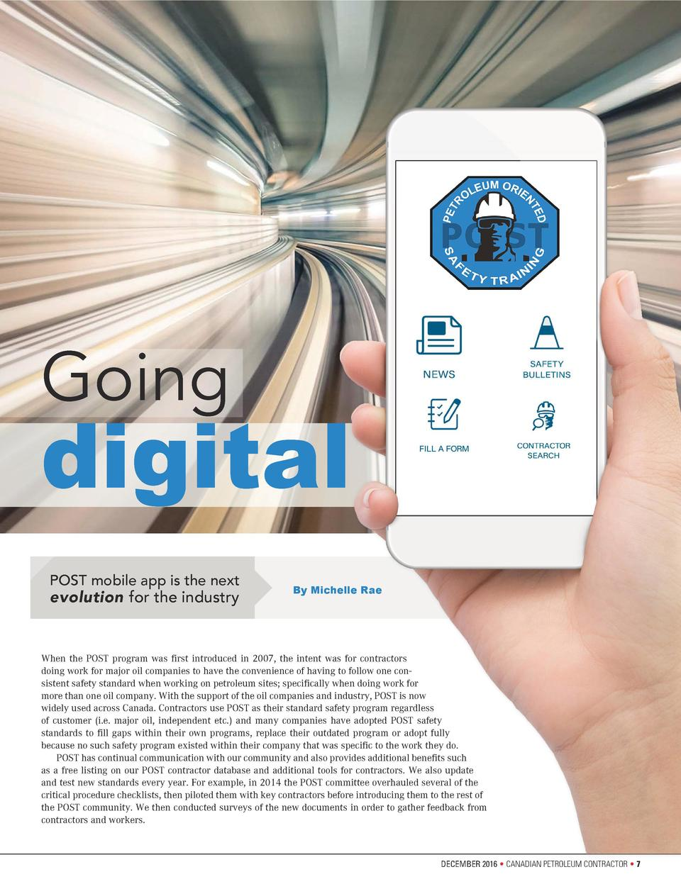 Going  digital POST mobile app is the next  evolution for the industry  By Michelle Rae  When the POST program was first i...