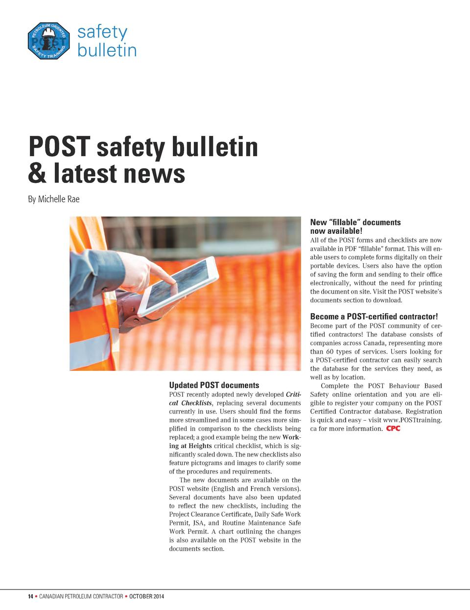 safety bulletin  POST safety bulletin   latest news By Michelle Rae New    fillable    documents now available  All of the...
