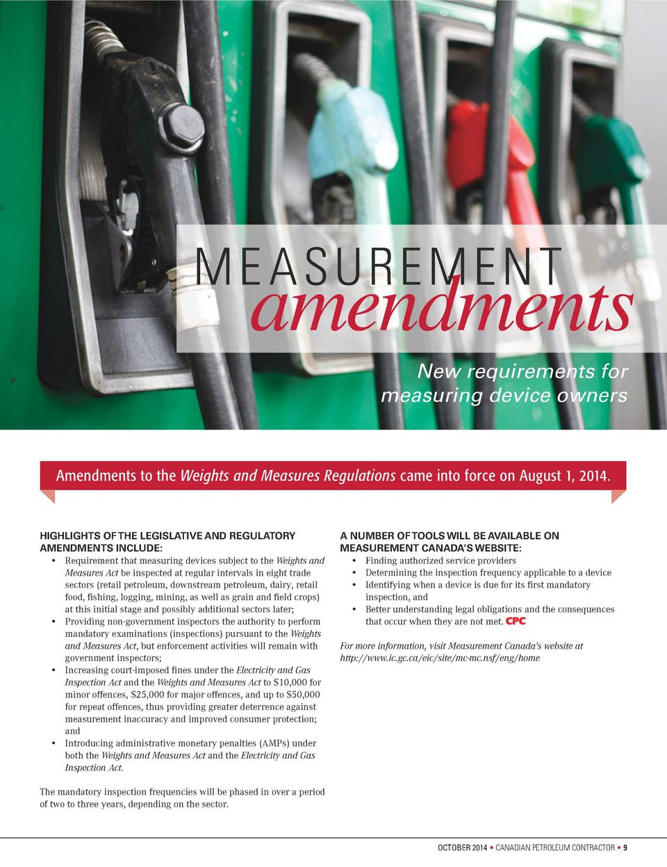 ME ASUREMENT  amendments New requirements for measuring device owners  Amendments to the Weights and Measures Regulations ...