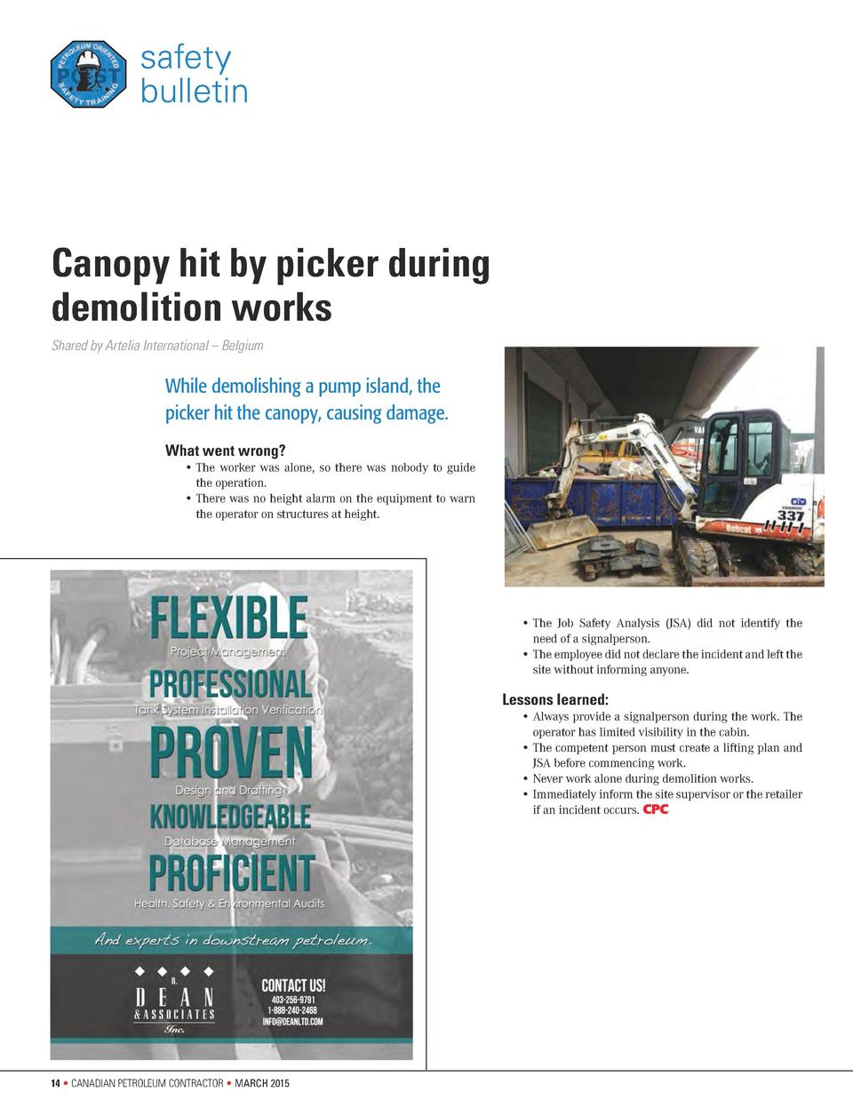 safety bulletin  Canopy hit by picker during demolition works Shared by Artelia International     Belgium  While demolishi...