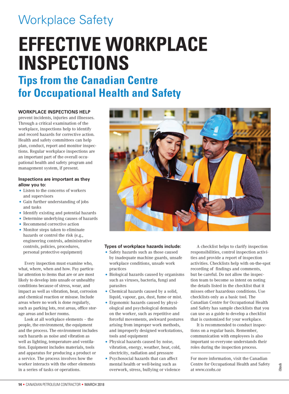 Workplace Safety  EFFECTIVE WORKPLACE INSPECTIONS Tips from the Canadian Centre for Occupational Health and Safety WORKPLA...