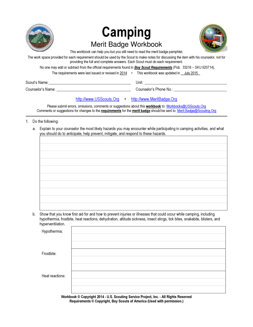 Camping Merit Badge simplebooklet – Merit Badge Worksheet Answers