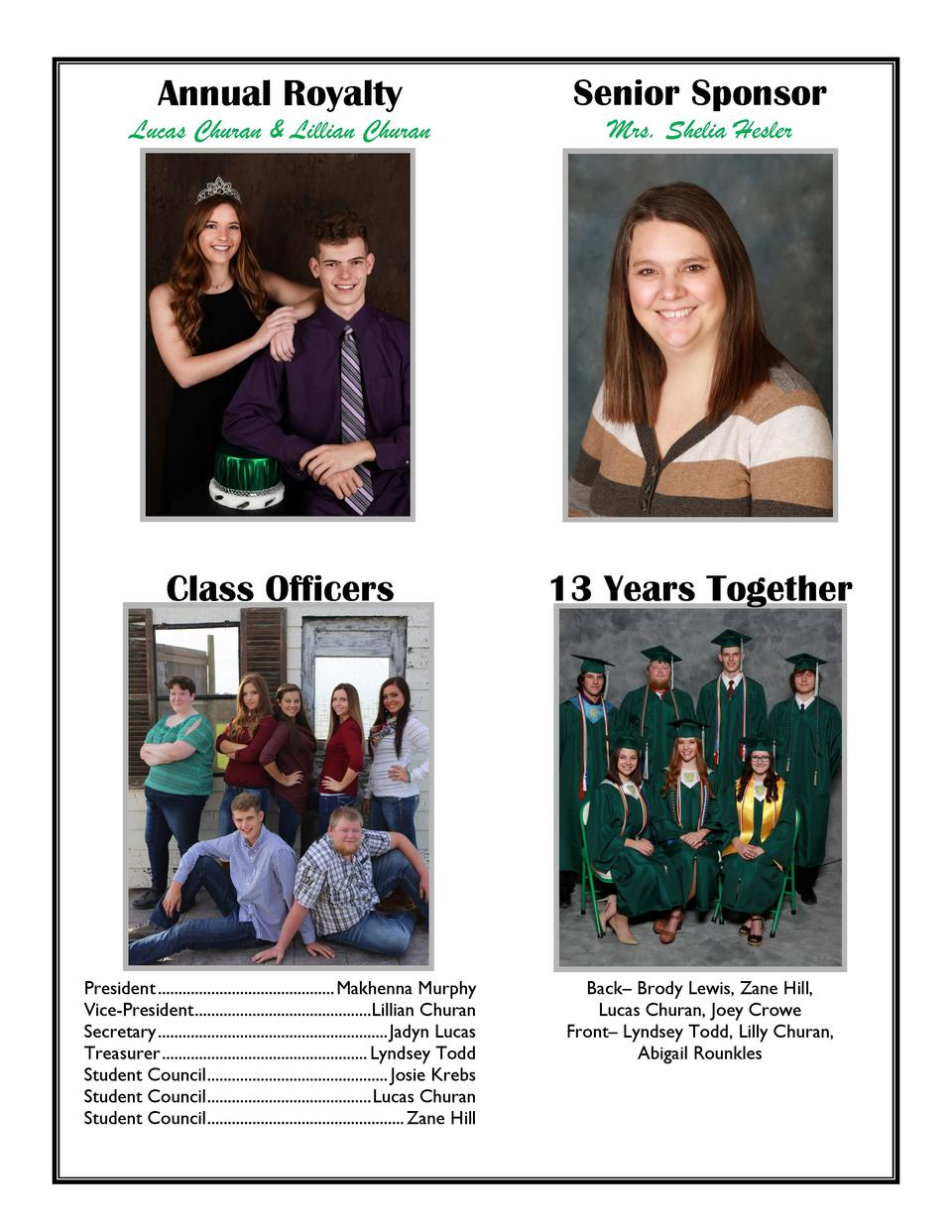 Annual Royalty  Senior Sponsor  Lucas Churan   Lillian Churan  Mrs. Shelia Hesler  Class Officers  13 Years Together  Pres...