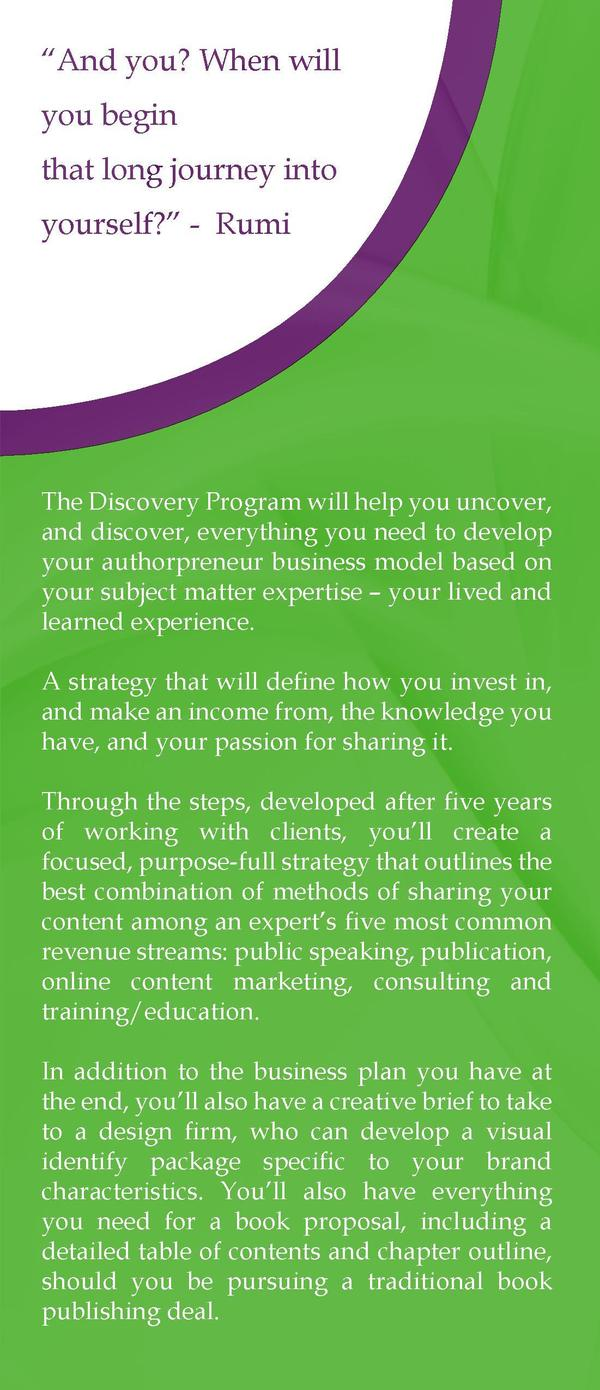 The Discovery Program  You have a unique idea that you   re ready to share with the world. We want to help you share that ...