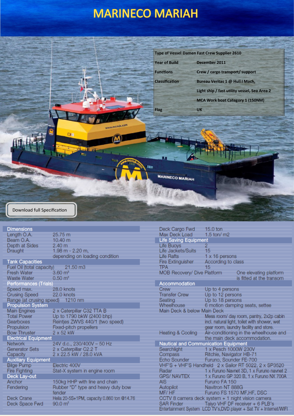 Type of Vessel Damen Fast Crew Supplier 2610 Year of Build  December 2011  Functions  Crew   cargo transport  support  Cla...
