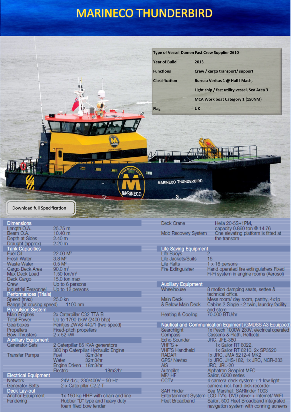 Type of Vessel Damen Fast Crew Supplier 2610 Year of Build  2013  Functions  Crew   cargo transport  support  Classificati...