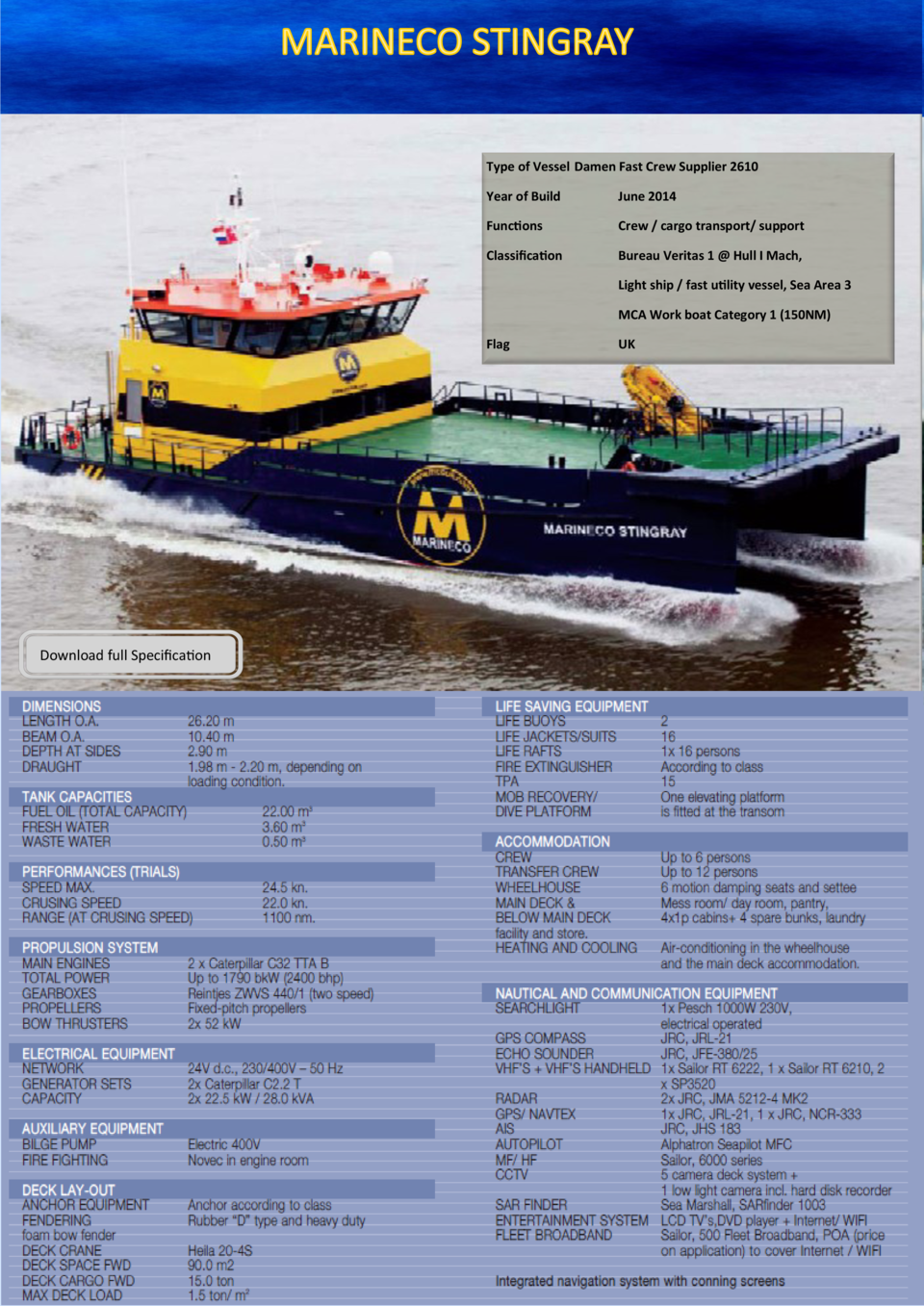 Type of Vessel Damen Fast Crew Supplier 2610 Year of Build  June 2014  Functions  Crew   cargo transport  support  Classif...