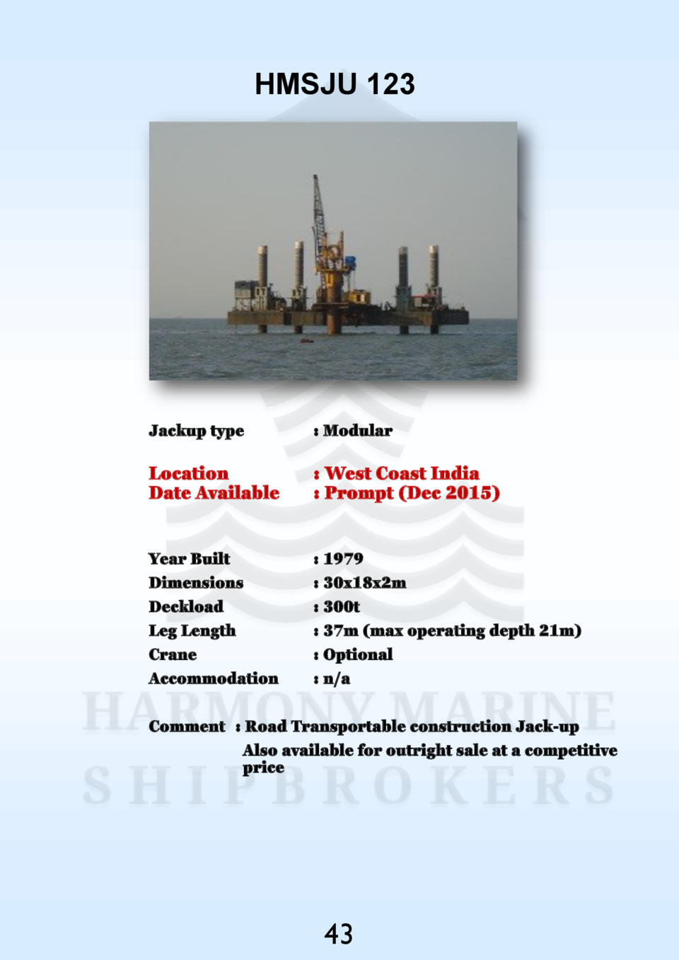 HMSJU 123  Jackup type    Modular  Location Date Available    West Coast India   Prompt  Dec 2015   Year Built Dimensions ...