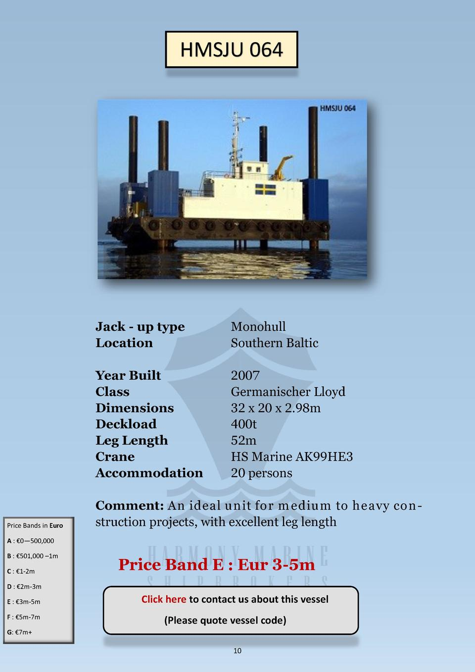 HMSJU 064  Price Bands in Euro  Jack - up type Location  Monohull Southern Baltic  Year Built Class Dimensions Deckload Le...