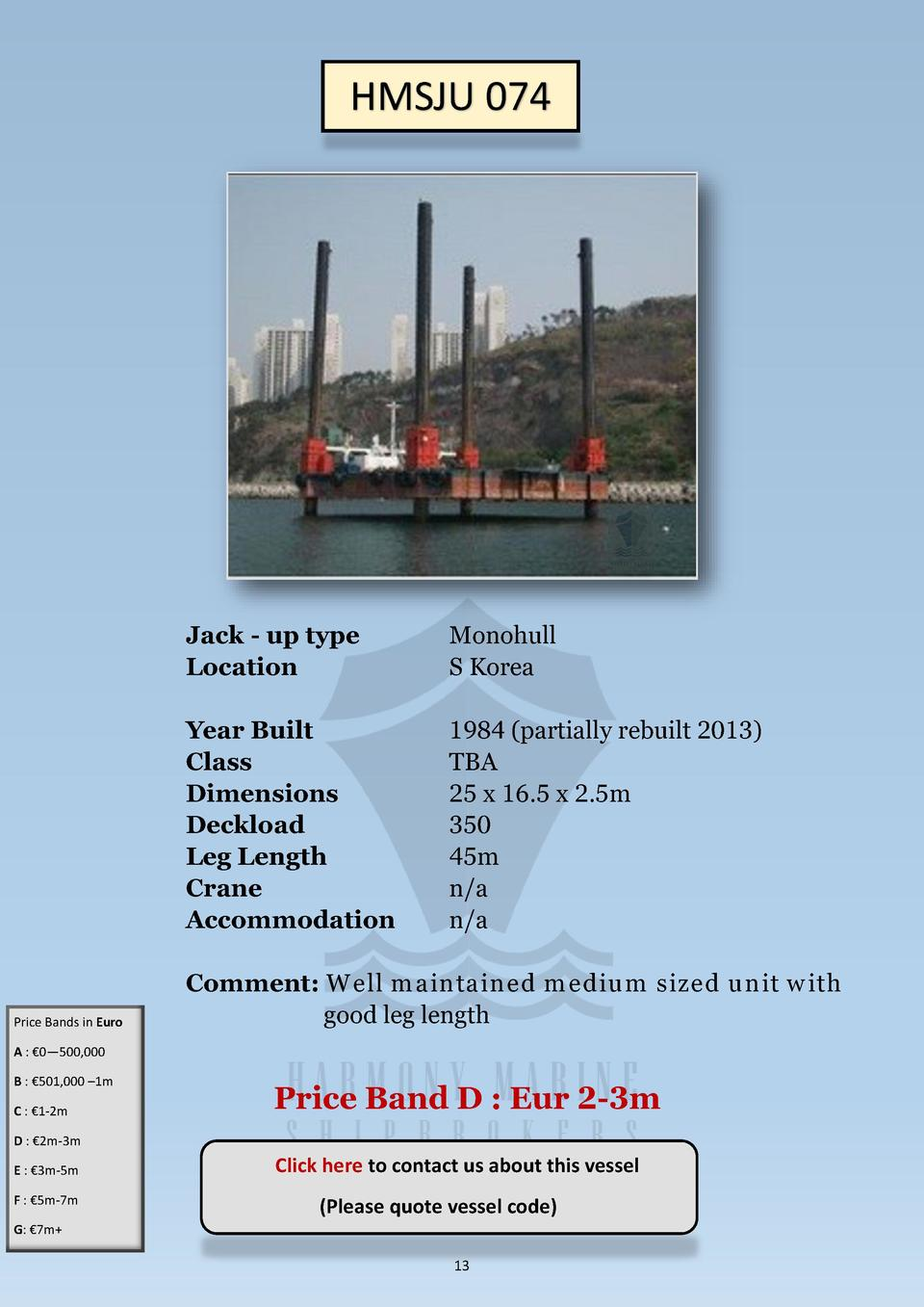 HMSJU 074  Price Bands in Euro  Jack - up type Location  Monohull S Korea  Year Built Class Dimensions Deckload Leg Length...