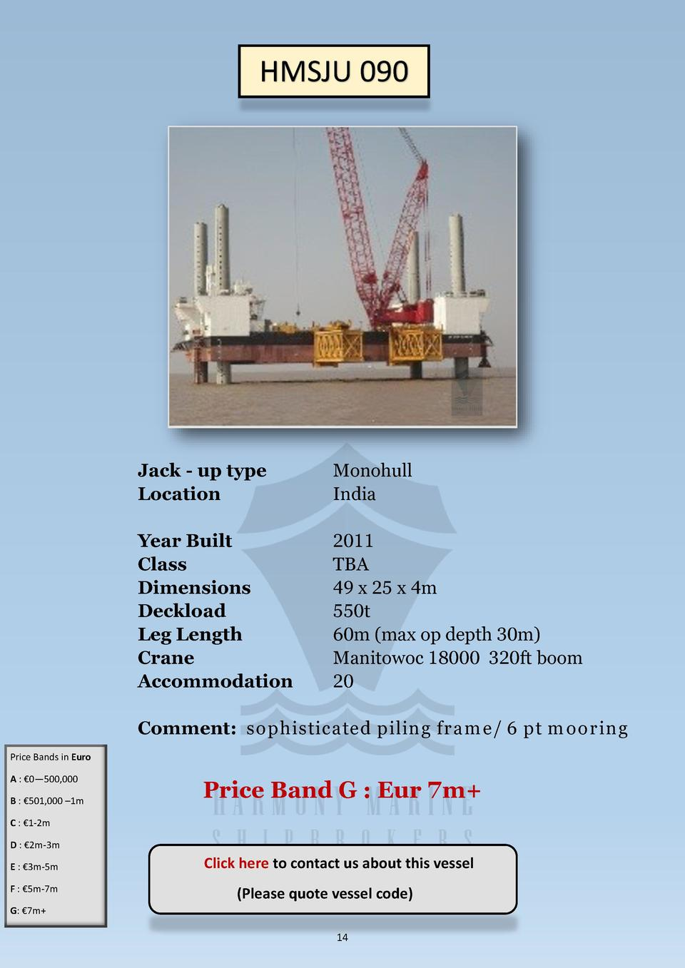 HMSJU 090  Jack - up type Location  Monohull India  Year Built Class Dimensions Deckload Leg Length Crane Accommodation  2...