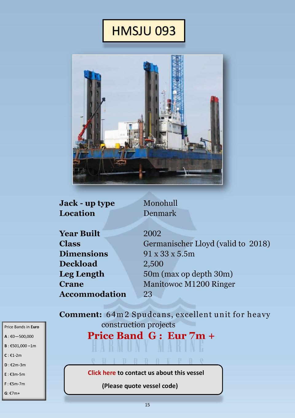 HMSJU 093  Price Bands in Euro A      0   500,000  Jack - up type Location  Monohull Denmark  Year Built Class Dimensions ...