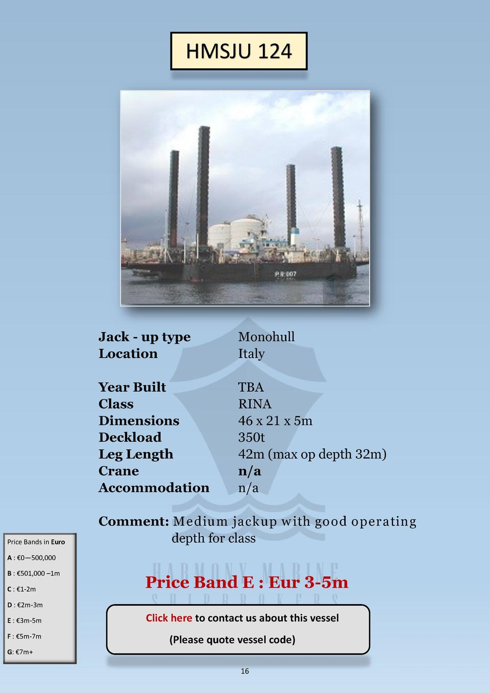 HMSJU 124  Price Bands in Euro  Jack - up type Location  Monohull Italy  Year Built Class Dimensions Deckload Leg Length C...