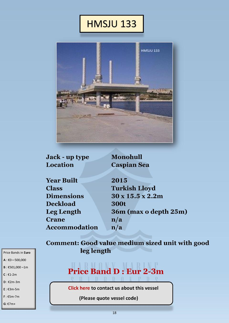 HMSJU 133  Price Bands in Euro  Jack - up type Location  Monohull Caspian Sea  Year Built Class Dimensions Deckload Leg Le...