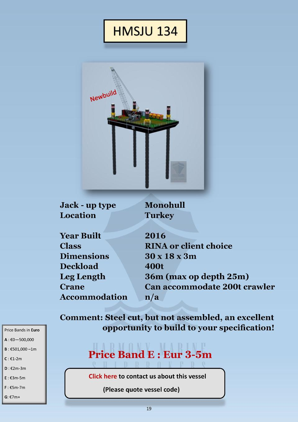 HMSJU 134  Price Bands in Euro  Jack - up type Location  Monohull Turkey  Year Built Class Dimensions Deckload Leg Length ...