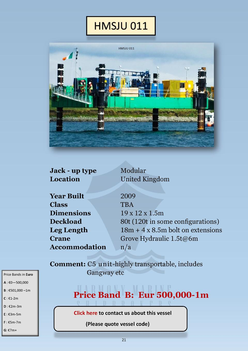 HMSJU 011  Price Bands in Euro  Jack - up type Location  Modular United Kingdom  Year Built Class Dimensions Deckload Leg ...
