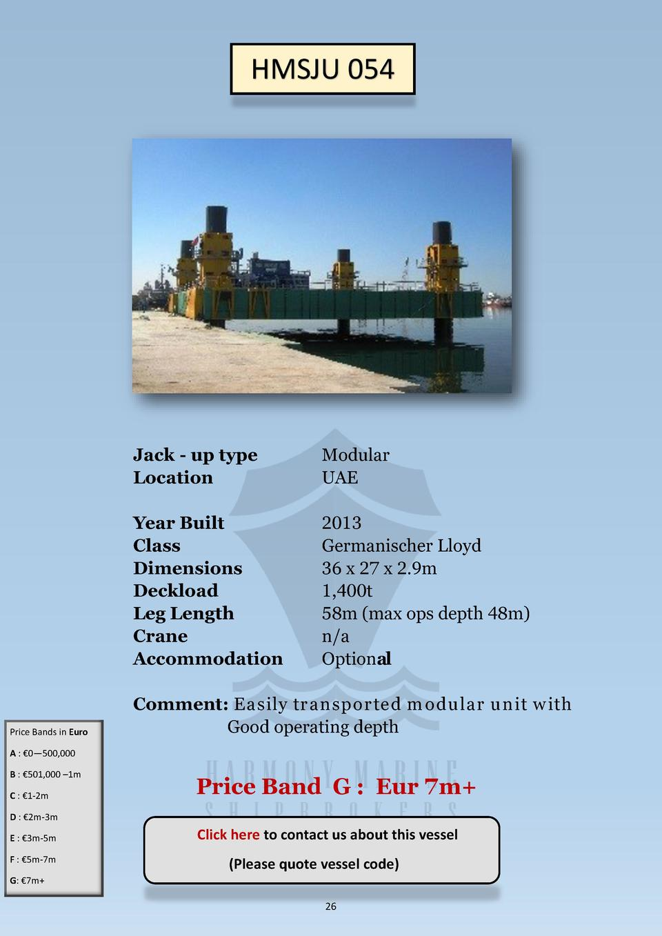 HMSJU 054  Price Bands in Euro  Jack - up type Location  Modular UAE  Year Built Class Dimensions Deckload Leg Length Cran...