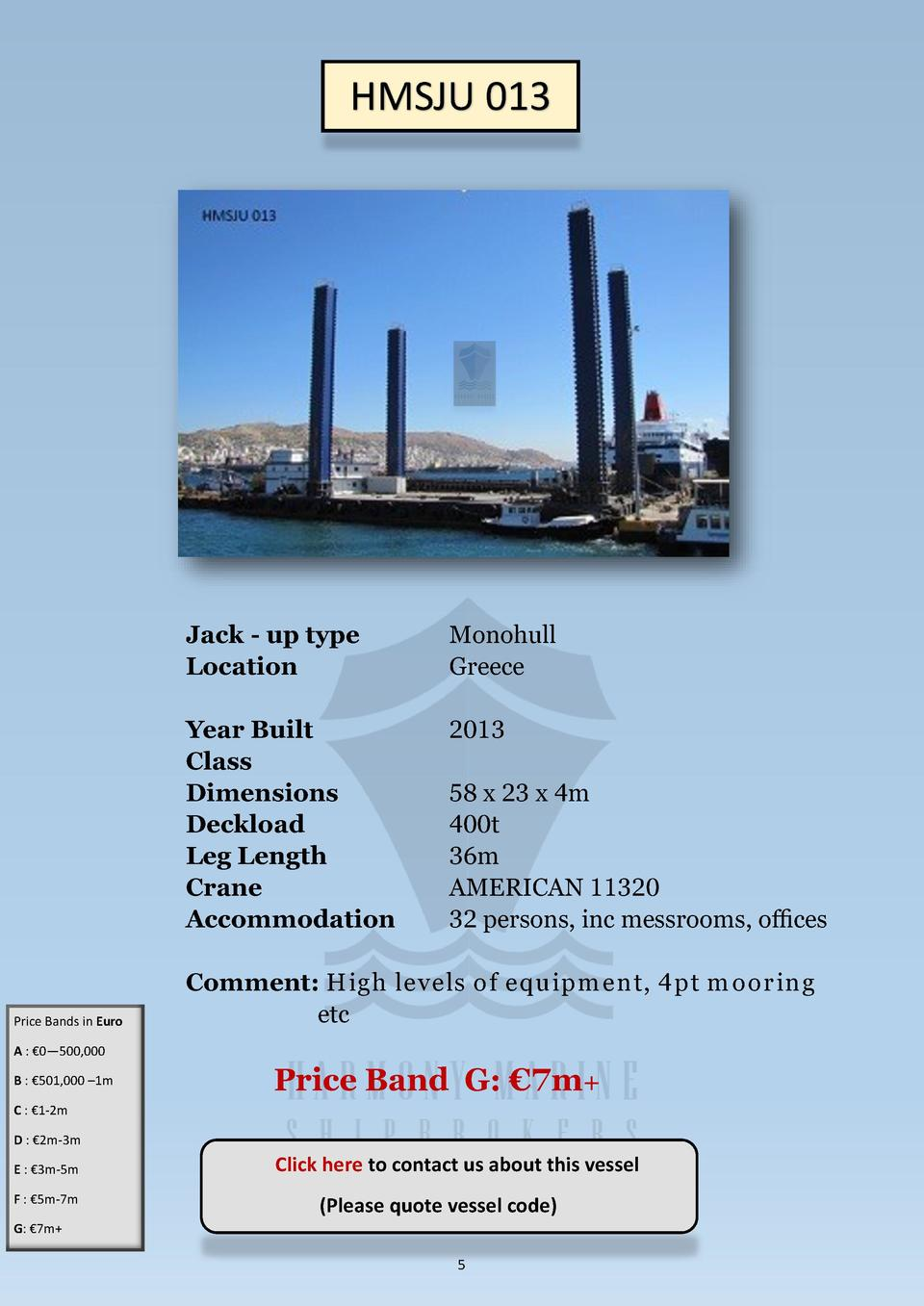 HMSJU 013  Price Bands in Euro  Jack - up type Location  Monohull Greece  Year Built Class Dimensions Deckload Leg Length ...