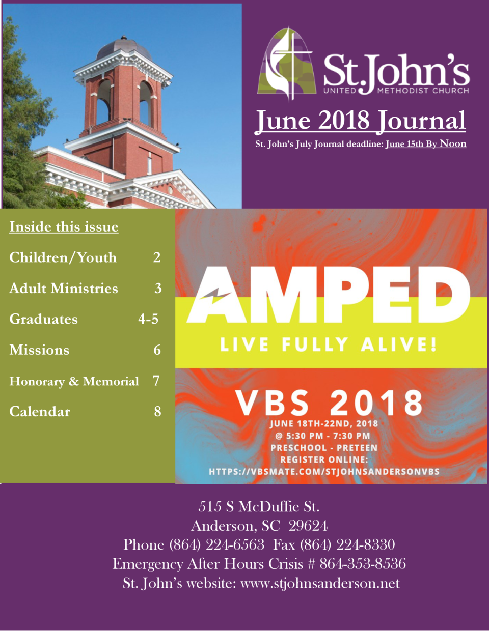 June 2018 Journal St. John   s July Journal deadline  June 15th By Noon  Inside this issue Children Youth  2  Adult Minist...