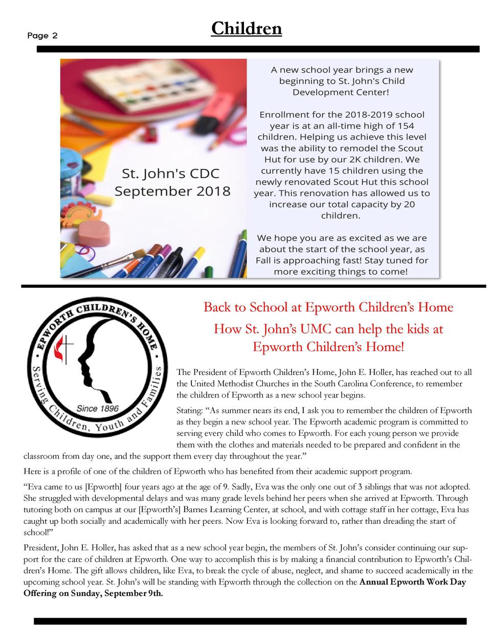 Page 2  Children  Back to School at Epworth Children   s Home  How St. John   s UMC can help the kids at Epworth Children ...
