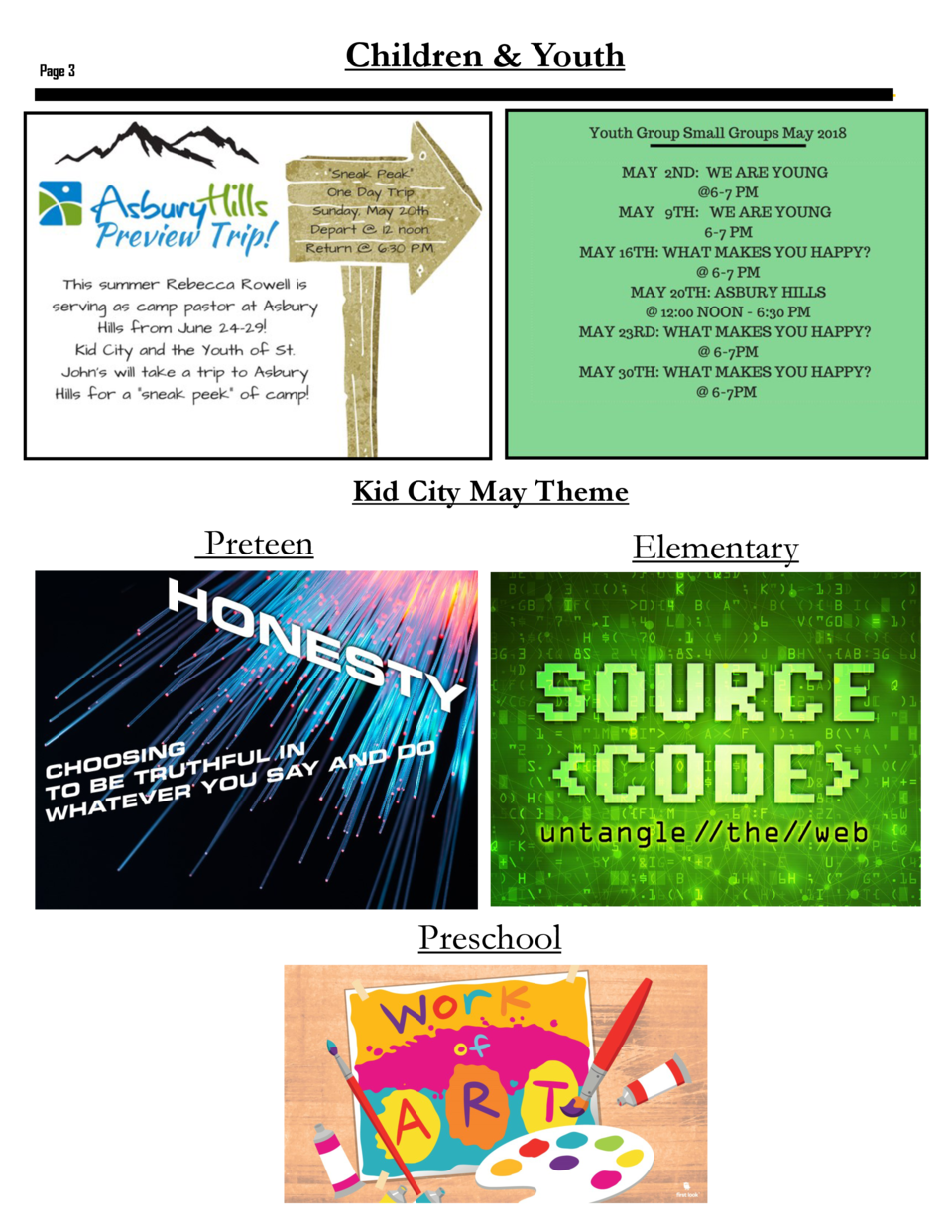 Children   Youth  Page 3  Kid City May Theme  Preteen  Elementary  Preschool