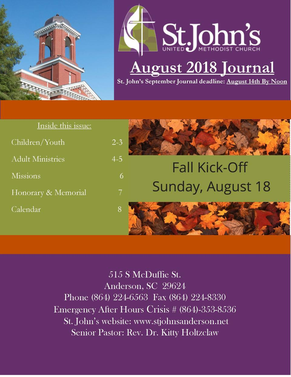 August 2018 Journal St. John   s September Journal deadline  August 14th By Noon  Inside this issue  Children Youth  2-3  ...