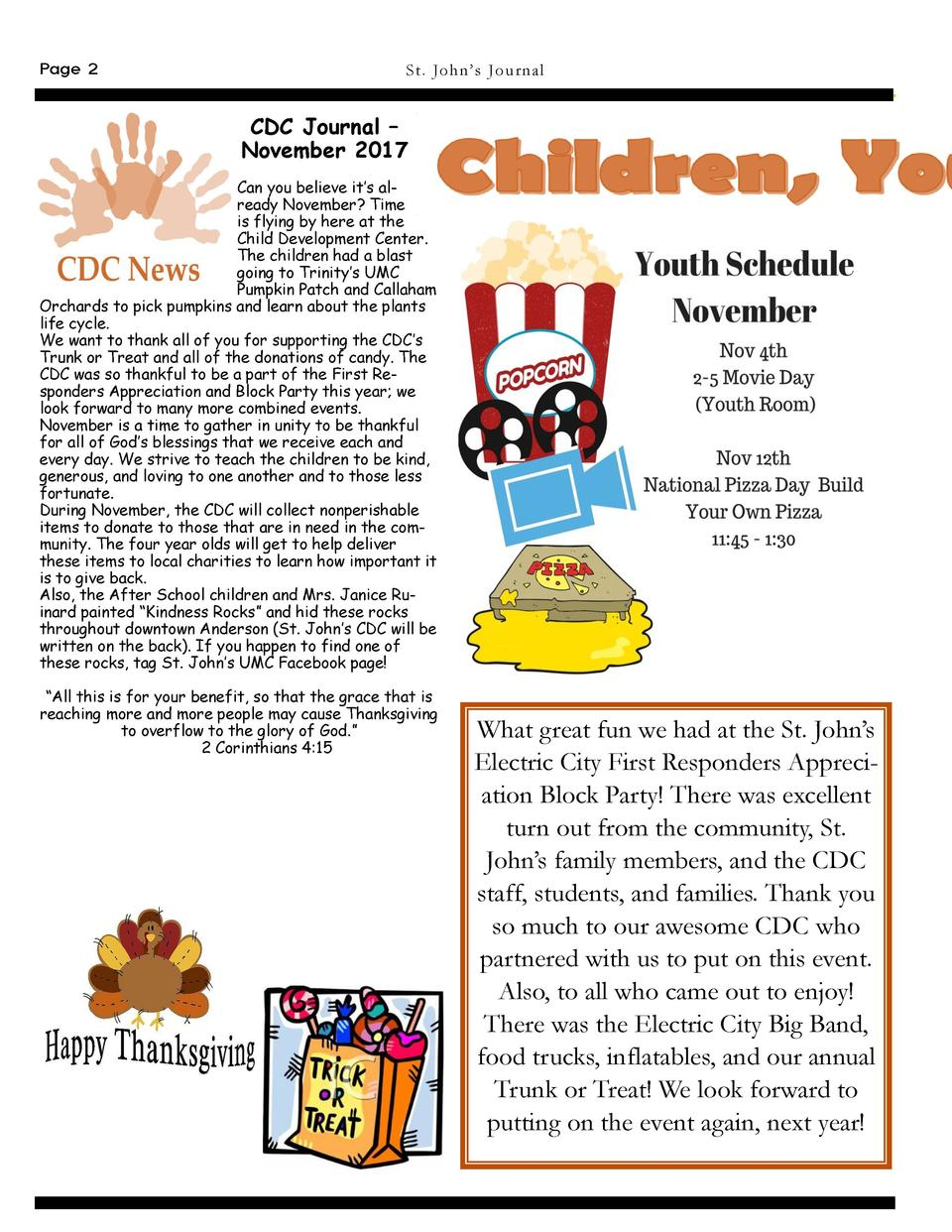Page 2  St . Jo h n   s Journa l  CDC Journal     November 2017 Can you believe it   s already November  Time is flying by...