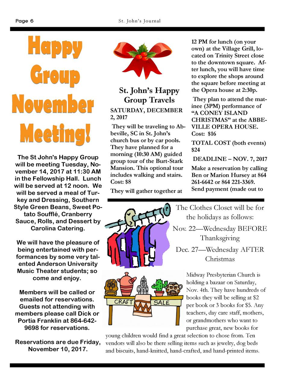 Page 6  St . Jo h n   s Journa l  St. John   s Happy Group Travels  The St John s Happy Group will be meeting Tuesday, Nov...